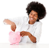 Man saving in a piggybank — Stock Photo