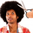 Man reluctant to cut his hair - Stock Photo