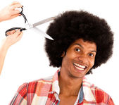 Afro man at the hairdresser — Stock Photo