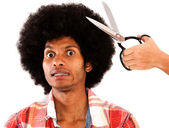 Man reluctant to cut his hair — Stock Photo