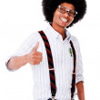 Nerd with thumbs up — Stockfoto