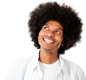 Afro man daydreaming — Stock Photo