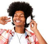 Afro man with headphones — Stock Photo