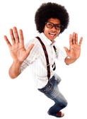 Geeky man having fun — Stock Photo