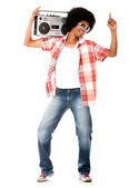 Funky man lyssnar på musik — Stockfoto