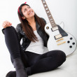 Woman thinking of being a rock star — Foto Stock