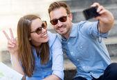 Happy couple on holidays — Stock Photo