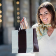 Woman holding a shopping bag — Stock Photo