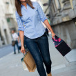 Shopping woman walking with bags — Stock Photo #12807918