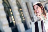 Feliz shopper feminino — Foto Stock