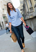 Shopping woman walking with bags — Stock Photo