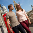 Couple walking the streets of London — Stock Photo