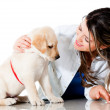 Woman pampering her dog — Stock Photo