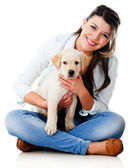 Woman with a puppy — Stock Photo