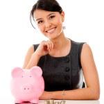 iş kadını para tasarrufu — Stok fotoğraf