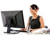 Business woman working at the office — Foto Stock