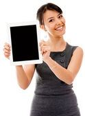 Business woman with a tablet computer — Stock Photo
