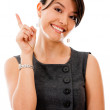 Businesswoman pointing an idea — Stock Photo