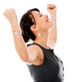 Excited business woman celebrting — Stok fotoğraf