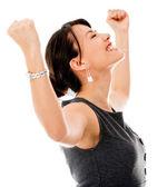 Heyecanlı bir iş kadını celebrting — Stok fotoğraf