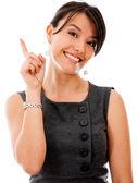 Businesswoman pointing an idea — Stock Photo