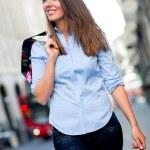 Shopping woman walking — Stock Photo