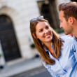 Happy couple walking outdoors — Stock Photo #13240907