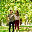 Couple walking at the park — Stock Photo