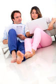 Couple discussing their finances — Stock Photo