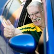 Senior man driving a car - Stock Photo