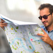Stock Photo: Lost mwith map