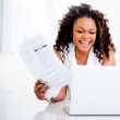 Woman paying her bills — Stock Photo