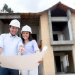 Architects working on a house project — Stock Photo