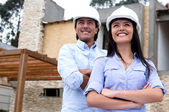 Architects with a house project — Stock Photo