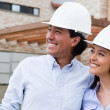 Architects looking at a house project — Stock Photo