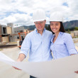 Couple looking at a house project — Stock Photo