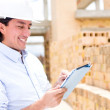Civil engineer with a tablet — Stock Photo