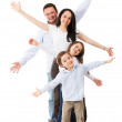 Excited family celebrating — Stock Photo