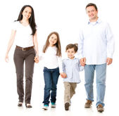 Happy family walking — Foto Stock