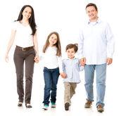Wandelen en gelukkige familie — Stockfoto
