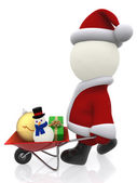 3D Santa pushing a wheelbarrow — Stock Photo