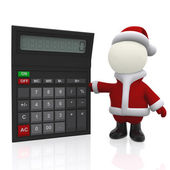 3D Santa with a calculator — Stock Photo