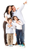 Happy family looking away — Stock Photo