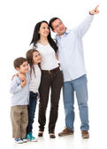 Family pointing somewhere — Stock Photo