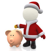 3D Santa Claus saving money — Stock Photo