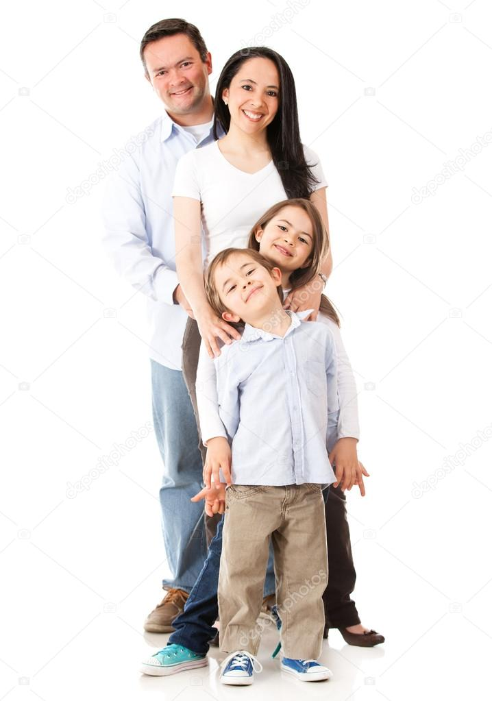 Family standing together - isolated over a white background  — Stock Photo #13765357