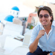 Happy man in Santorini — Stock Photo