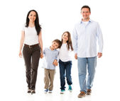 Lycklig familj promenader幸せな家族の歩行 — ストック写真