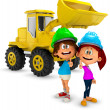 3D young construction workers - Stock Photo