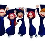 3D graduation group — Stock Photo